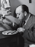 Alfred Hitchcock Eating Lamb Chops Premium Photographic Print by John Florea