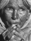 Starving Middle Aged Indian Woma, a Result of Famine over the Last 2 Years Due to a Drought Premium Photographic Print by Margaret Bourke-White