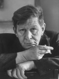 Poet, W. H. Auden, Sitting in Library at Home, Photographic Print