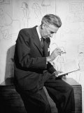 Cartoonist James Thurber Posing with His Work Premium Photographic Print by Bob Landry