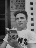 Boxer Marcel Cerdan, Reading a French English Dictionary Premium Photographic Print by Tony Linck