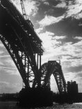 Multiple Arc Bridge under Construction Across the Dnieper River Below the World's Largest Dam Premium Photographic Print by Margaret Bourke-White