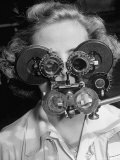 Eye Examination as Part of Good Drivers League Contest Held Annually by Ford Motor Company Premium Photographic Print by Alfred Eisenstaedt