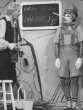 Comedian Marcel Marceau Performing on a TV Show with Comedian Red Skeleton Premium Photographic Print by Ralph Crane