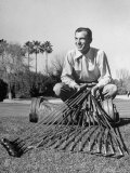 Golfer Ben Hogan with Golf Clubs Premium Photographic Print by Martha Holmes