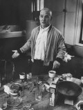 Willem de Kooning Preparing to Drink a Cup of Coffee in His East 10th St. Studio Premium Photographic Print by James Burke