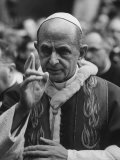 Pope Paul Vi, Officiating at Ash Wednesday Service in Santa Sabina Church Premium Photographic Print by Carlo Bavagnoli