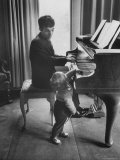 Russian Pianist Vladimir Ashkenazy and Son at Piano at Their Elegant Country Home Premium Photographic Print by Ralph Crane