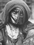 Arab Woman, Eyes Closed, Wearing Traditional Mask and Additional Bird Like Mask over Her Face Photographic Print by Ralph Crane