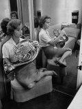 Debbie Reynolds Playing French Horn for Relaxation Premium Photographic Print by Allan Grant