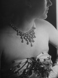 Mrs. Jacques Fath, Wife of Fashion Designer, Wearing Satin Evening Gown and Rhinestone Necklace Lámina fotográfica de primera calidad por Nina Leen