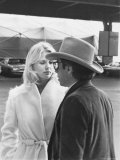 Peter Bogdanovich Speaking to Girlfriend, Former Playboy Playmate and Actress Dorothy Stratten Premium Photographic Print by David Mcgough