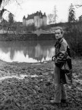 Painter Balthus Standing Outside Chateau de Chassy, Studio in Morvan, 200 Miles Southwest of Paris Premium Photographic Print by Loomis Dean
