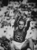 Russian Vera Krepkina During Broad Jump at Olympics Premium Photographic Print by Mark Kauffman