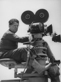 "Director George Stevens Lining Up Shot in Camera for the Movie ""Giant"" Premium Photographic Print by Allan Grant"