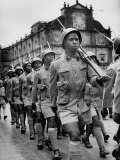 Portuguese Troops, West African Rank and File, Marching Away from Church of Born Jesus, After Mass Premium Photographic Print by James Burke