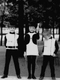Three Little Kids in the Park While Modeling Their Black and While Pierre Cardin Outfits Premium Photographic Print by Pierre Boulat