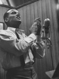 Singer Harry Belafonte Performing at a Recording Session Premium Photographic Print by Yale Joel