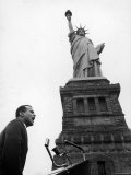 Singer Harry Belafonte, Speaking at Civil Rights Rally at Statue of Liberty Premium Photographic Print by Al Fenn