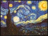 星月夜(糸杉と村) 1889年 額入りキャンバスプリント : フィンセント・ファン・ゴッホ