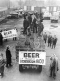 Men Atop Beer Delivery Truck Hoist Cases of Beer Triumphantly While Man Repeal of Prohibition Photographic Print