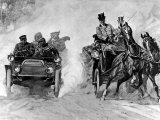 The Dust Fiend, Depicting Early Automobile Racing by a Shying Team of Coach Horses Premium Photographic Print