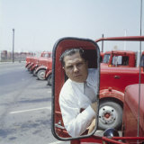 Union President Jimmy Hoffa's Image Reflected in Rear View Mirror in Red Truck Premium Photographic Print by Hank Walker