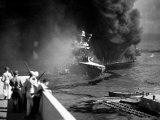 Sinking Battleship USS California Which Was Attacked During Surprise Japanese Raid on Pearl Harbor Photographic Print