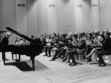 Pianist Artur Rubinstein Taking Bow Next to Grand Piano as Audience Enthusiastically Responds Premium Photographic Print