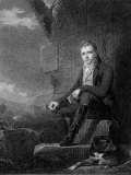 Sir Walter Scott, Scottish Novelist and Poet, Sitting Next to a Stone Wall with a Dog Photographic Print