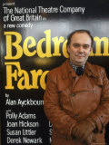 "British Playwright Alan Ayckbourn Standing Before Broadway Poster of His Comedy ""Bedroom Farce."" Premium Photographic Print by Ted Thai"