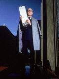 Architect Philip Johnson Holding a Model of the AT&T Building He Designed Premium Photographic Print by Ted Thai