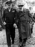 Winston Churchill Walking with General Dwight Eisenhower During Visit to France Premium Photographic Print