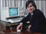Apple Computer Chairman Steve Jobs with New Lisa Computer During Press Preview Premium Photographic Print by Ted Thai