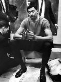 Philadelphia 76Er Wilt Chamberlain in Locker Room During Nba Playoffs Against Boston Celtics Premium Photographic Print by John Zimmerman