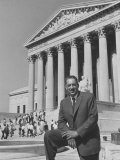 NAACP Lawyer Thurgood Marshall Posing in Front of the Us Supreme Court Building Premium Photographic Print by Hank Walker