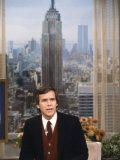 TV News Man Tom Brokaw on the Set of NBC's Today Show Premium Photographic Print by Ted Thai