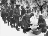 Food Being Served to American Infantrymen Curing the Battle of the Bulge Premium Photographic Print