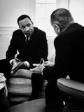 Civil Rights Leader Dr Martin Luther King with Pres. Lyndon Johnson During Visit to the White House Premium Photographic Print by Stan Wayman