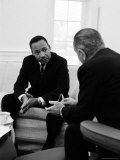 Civil Right Leader Dr. Martin Luther King Speaking with President Lyndon Johnson Premium Photographic Print by Stan Wayman