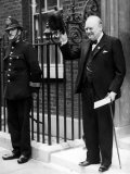 British Prime Minister Winston Churchill Doffing Hat Outside of 10 Downing St Premium Photographic Print