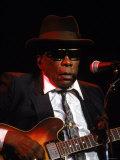 Blues Singer and Guitarist John Lee Hooker Performing Premium Photographic Print
