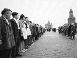 Russian Youths Lined Up in Red Square for an Initiation Ceremony Into Young Pioneers Premium Photographic Print by James Whitmore