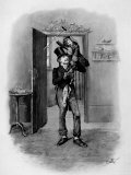 "Bob Cratchit Holding Son Tiny Tim Joyously Aloft, from Dicken's Tale, ""A Christmas Carol"" Premium Photographic Print"