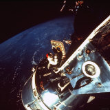 Astronaut Dave Scott Gazing from Hatch of Apollo 9 Command Module Toward Untested Lunar Module, Photographic Print