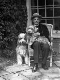 John Galsworthy, English Novelist and Playwright, Holding Dog with Another Dog Premium Photographic Print