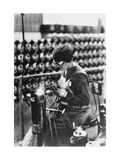 Women Worker in Safety Goggles Doing Acetylene Welding on Cylinder Water Jacket in Factory Photographic Print