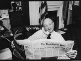 New York Mayor Ed Koch in His Office Reading the Washington Post During the Newspaper Strike Premium Photographic Print by Ted Thai