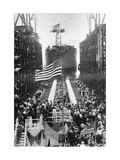 Quistconck First Warship Completed at Hog Island Shipyards, During WWI Reproduction photographique sur papier de qualité par Carl Thoner