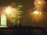 Fireworks for 4th of July Celebrations with Statue of Liberty and World Trade Center Towers Photographic Print by Ted Thai